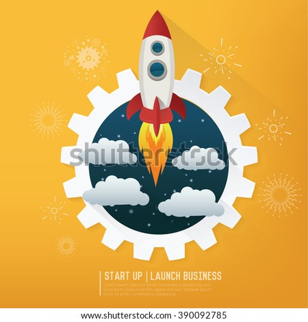 Rocket. Project start up. Business aims and smart solutions. Teamwork.yellow background,clean vector  - stock vector