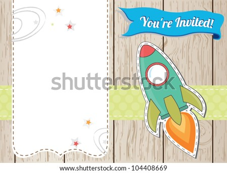 Rocket ship card with place for you text - stock vector