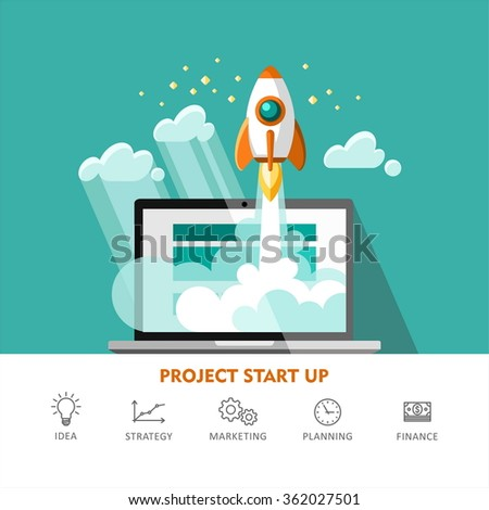 Rocket ship. Start Up. Flat design modern vector illustration concept of new business project start up development and launch a new innovation product on a market. - stock vector