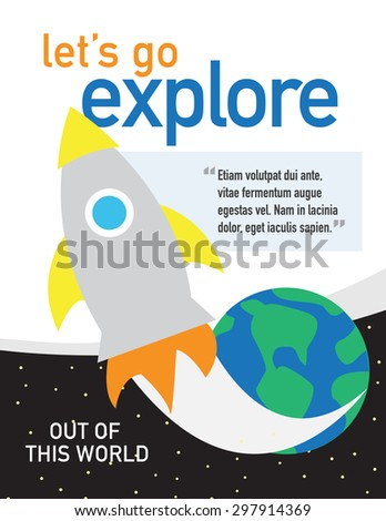 Rocket ship with planet and stars - let's go explore - stock vector