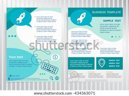 Rocket sign on vector Brochure. Flyer design. Layout template, size A4.