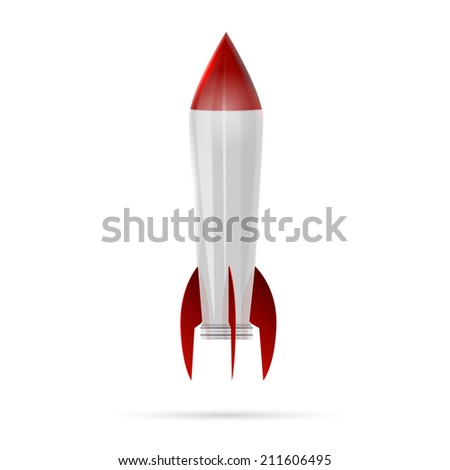 Rocket space ship isolated on white - stock vector