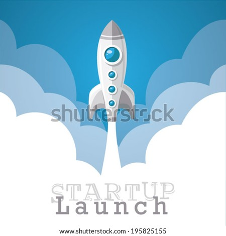 rocket start-up launch poster - stock vector