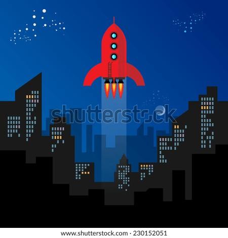 Rocket start, vector illustration - stock vector