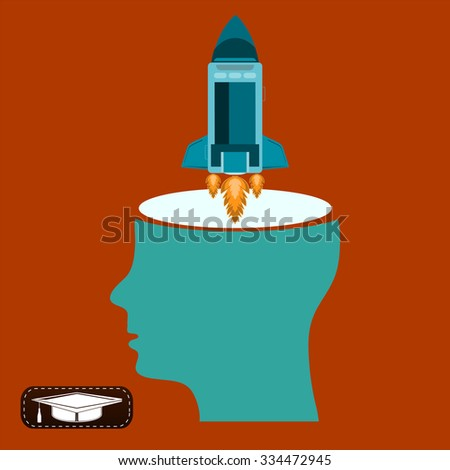 Rocket takes off from the open head. Start up, new ideas, brainstorming, dream about space, spaceflight - stock vector