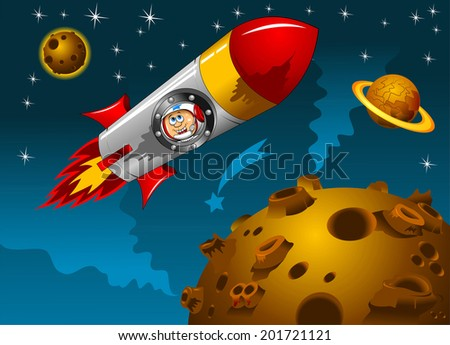 rocket with astronauts on board the space vector - stock vector