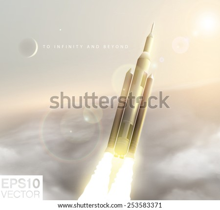 Rocket with full throttle on, above the clouds, flying to the space . - stock vector