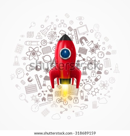 Rocket with icons on the background. Vector illustration - stock vector