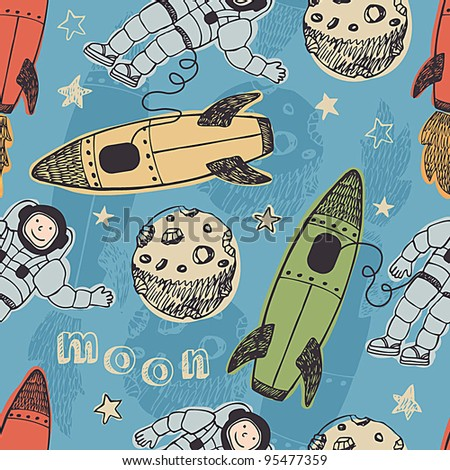 Rockets and astronauts in space pattern - stock vector