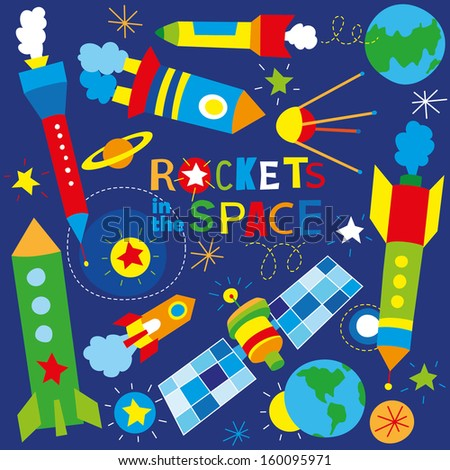 rockets in the space - stock vector