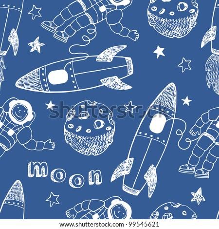 Rockets seamless pattern - stock vector