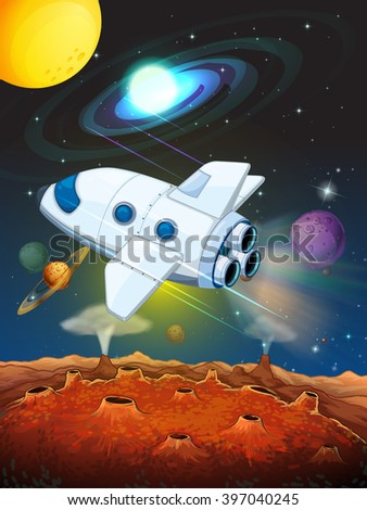 Rocketship flying into the space illustration