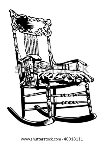 Contemporary Rocking Chair Sketch Illustration Inside Design