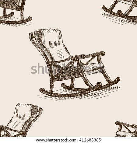 Rocking chair sketch style seamless pattern vector illustration. Old engraving imitation.