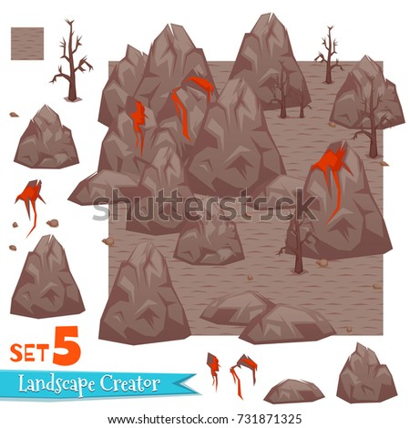 Rocks and volcanoes set. Vector illustration