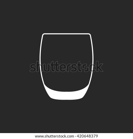 Rocks Glass Tumbler sign  simple icon on background - stock vector