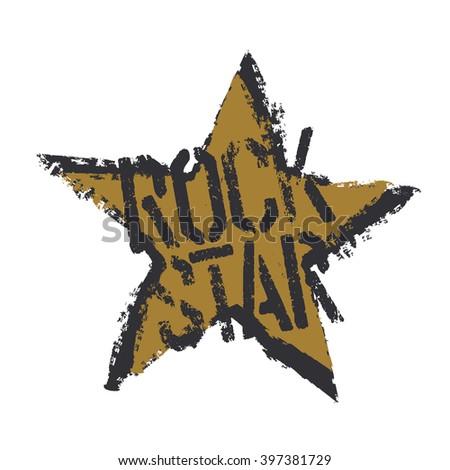 Rockstar. Grunge symbol design. Isolated on white - stock vector