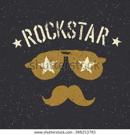 Rockstar. Sunglasses with stars and moustache with lettering. Tee print design template - stock vector
