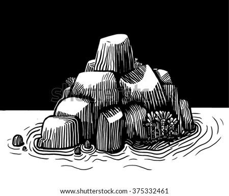 Rocky island - stock vector