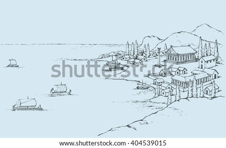 Rocky seashore, classic minoan colony in bay dock: port, antiquity pagan pavilion, statue on column, huts on hill, sail trireme and galley in harbor. Freehand sketch ink background. Bird's eye view - stock vector