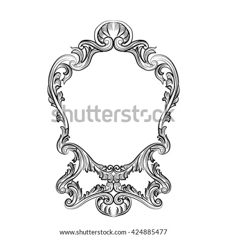Rococo Mirror Frame Decor Vector French Stock Vector
