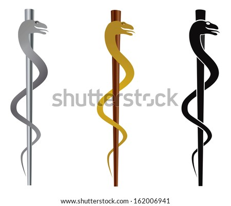 Rod of Asclepius Medical Symbol Isolated on White Background Vector Illustration - stock vector