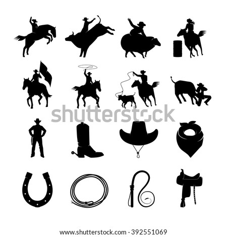 Rodeo black icons with cowboys silhouettes riding on bulls and wild horses and rodeo accessories isolated vector illustration    - stock vector