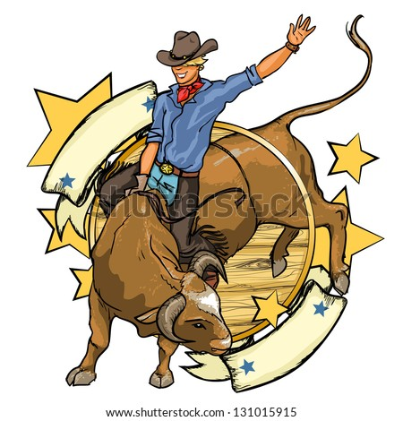 Rodeo Cowboy riding a bull, logo design with space for text, isolated - stock vector
