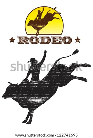 Rodeo cowboy riding a wild bull silhouette, Vector - stock vector