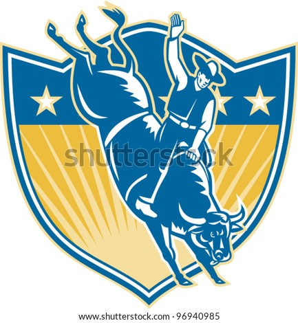 Rodeo Cowboy Riding Bucking Bull Stars Shield Retro