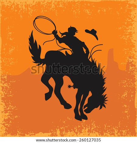 Rodeo Cowboy Silhouette - stock vector