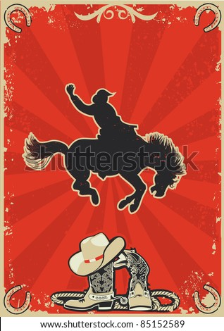 Rodeo cowboy.Wild horse race.Vector graphic poster with grunge background for text - stock vector