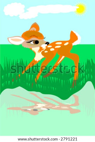 roe on the river - stock vector