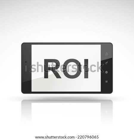 ROI word on mobile phone isolated on white - stock vector