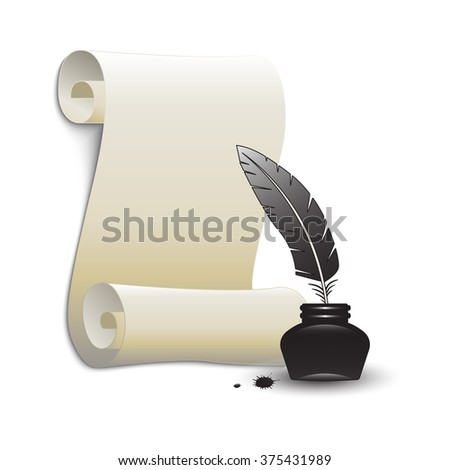 Roll of old paper and feather in the inkwell. Elements for your design. Vector illustration. - stock vector