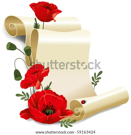 Roll of old paper and poppies. Vector illustration, isolated on white background. - stock vector