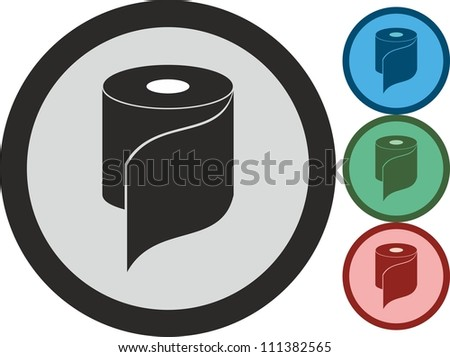 Roll of paper, vector, icon - stock vector