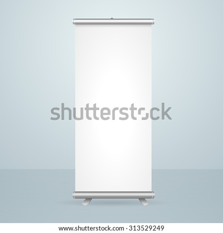 Roll Up Banner Blank Stand Design Isolated on Gray Background. Vector illustration