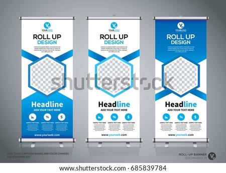 roll banner design template abstract background stock. Black Bedroom Furniture Sets. Home Design Ideas