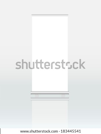 Roll up banner display free space for text  / pics, vector illustration - stock vector