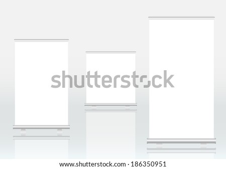Roll up banner displays, free copy space, vector eps 10 - stock vector