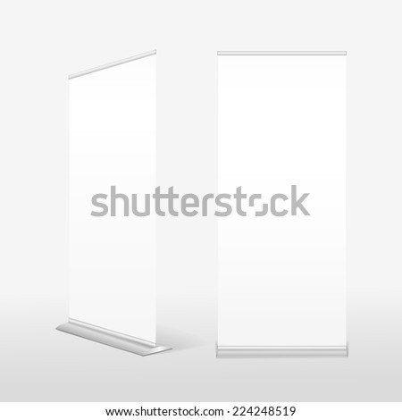 roll up banner isolated on white background - stock vector
