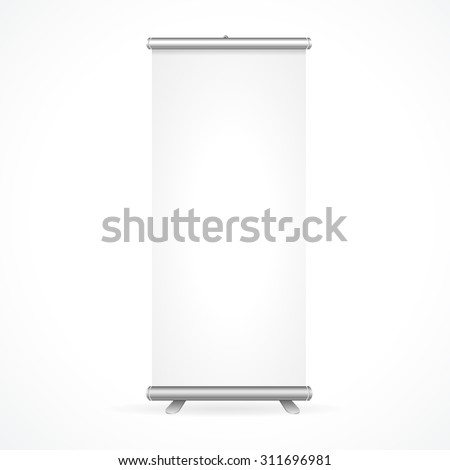 Roll Up Banner Stand Design Isolated on White Background. Vector illustration - stock vector