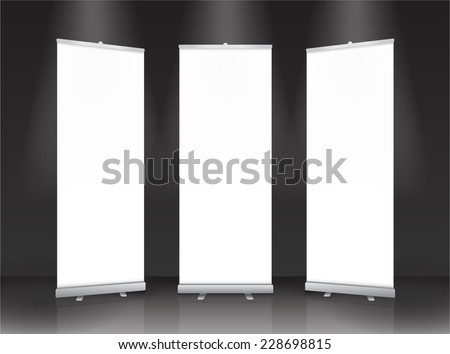 Roll up banner stand design. Vector. - stock vector