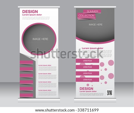 Roll up banner stand template. Abstract background for design,  business, education, advertisement.  Pink color. Vector  illustration. - stock vector