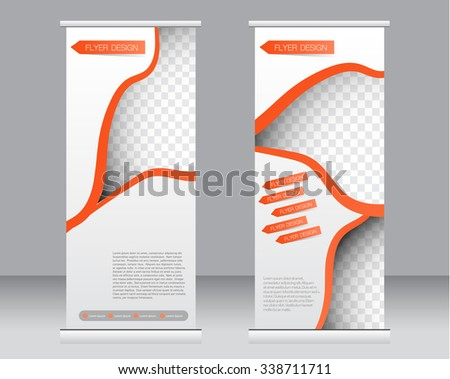 Roll up banner stand template. Abstract background for design,  business, education, advertisement.  Orange color. Vector  illustration. - stock vector