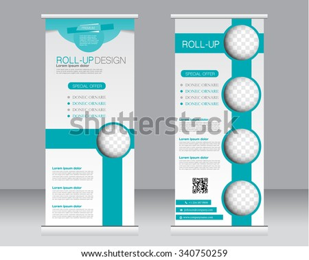 Roll up banner stand template. Abstract background for design,  business, education, advertisement.  Green color. Vector  illustration. - stock vector