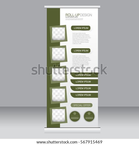 Roll up banner stand template. Abstract background for design,  business, education, advertisement. Vector  illustration.