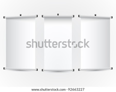 roll up banners; abstract vector art illustration; image contains transparency - stock vector
