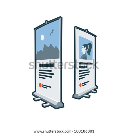 Roll up banners icon in cartoon style. Print publishing icon series.  - stock vector